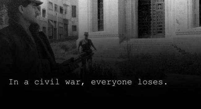 Zerstörte Häuser im Hintergrund. Text: Im Bürgerkrieg verliert jeder.EXIT-Deutschland, Fighters for Peace, Aussteiger, Bildung, Aufklärung, Ausstieg, Schule, EXIT,